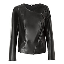 Buy Max Studio Assymetric Zip Leatherette Jacket, Black Online at johnlewis.com