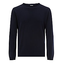 Buy Kin by John Lewis Pointelle Cotton Crew Neck Jumper, Navy Online at johnlewis.com