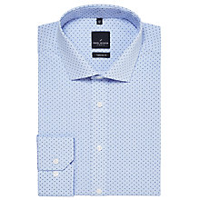 Buy Daniel Hechter Fine Stripe Circle Print Tailored Fit Shirt, Light Blue Online at johnlewis.com