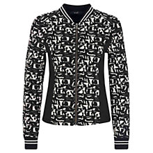 Buy Oui Knitted Bomber Jacket, Black/White Online at johnlewis.com