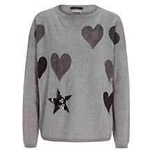 Buy Oui Printed Heart And Star Jumper, Grey/Black Online at johnlewis.com
