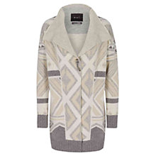 Buy Oui Long Aztec Print Cardigan, Light Grey/Camel Online at johnlewis.com