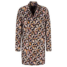 Buy Oui Jacquard Geometric Print Coat, Apricot/Black Online at johnlewis.com
