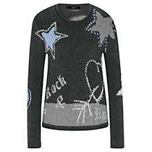 Buy Oui Embroidered Chunky Knit Jumper, Grey/Black Online at johnlewis.com