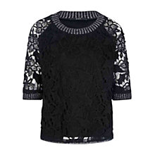 Buy Oui Lace Overlay Top, Black Online at johnlewis.com
