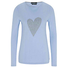 Buy Oui Heart Pullover Jumper, Light Blue/Grey Online at johnlewis.com