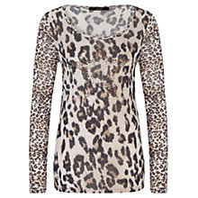 Buy Oui Leopard Print Top, White/Brown Online at johnlewis.com