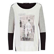 Buy Oui Contrast Sleeve Printed T-Shirt, Grey/Black Online at johnlewis.com