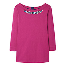 Buy Joules Embellished Jersey Top, Ruby Online at johnlewis.com