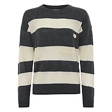 Buy Maison Scotch Stripe Pocket Jumper, Grey/Cream Online at johnlewis.com