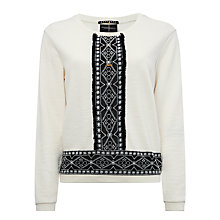 Buy Maison Scotch Embroidered Sweatshirt, Off White Online at johnlewis.com