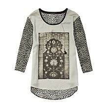 Buy Maison Scotch Photo Print Top, Grey Melange Online at johnlewis.com