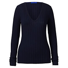 Buy Winser London Wool Ribbed Jumper, Midnight Online at johnlewis.com
