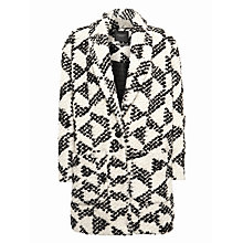 Buy Maison Scotch Geo Cocoon Coat, Black/White Online at johnlewis.com