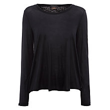 Buy Maison Scotch Printed Woven Back Top, Black Online at johnlewis.com