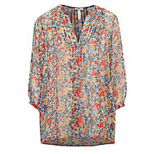 Buy Joie Lacee Floral Silk Blouse, Slate Blue Online at johnlewis.com