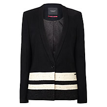 Buy Maison Scotch Contrast Stripe Wool Blazer, Black Online at johnlewis.com