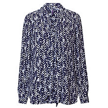 Buy NYDJ Tie Neck Heather Chevron Blouse, Blue/White Online at johnlewis.com