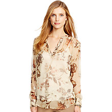 Buy Lauren Ralph Lauren Bendek Crinkle Top, Tan Online at johnlewis.com