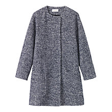 Buy Toast Collarless Knit Coat, Navy/White Online at johnlewis.com