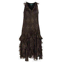 Buy Lauren Ralph Lauren Pyrmont Crinkle Dress, Black/Tan Online at johnlewis.com