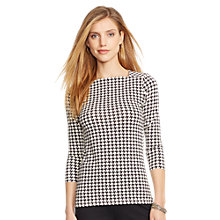 Buy Lauren Ralph Lauren Rosalinda Houndstooth Top, Black/Pearl Online at johnlewis.com