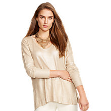 Buy Lauren Ralph Lauren Renesmee Linen-Blend Top, Straw Trail Online at johnlewis.com