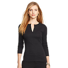 Buy Lauren Ralph Lauren Terese Ribbed Top, Black Online at johnlewis.com