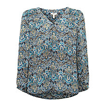 Buy Joie Avonmara V-Neck Blouse, Tile Blue/Dark Navy Online at johnlewis.com
