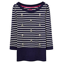 Buy Joules Marnie Embellished Stripe Jersey Top, Navy Online at johnlewis.com