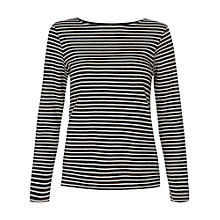 Buy People Tree Nita Stripe Jersey Top, Black Online at johnlewis.com
