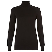 Buy People Tree Rashida Roll Neck Jumper, Black Online at johnlewis.com