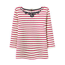 Buy Joules Gemma Beaded Neck Jersey Top, Ruby Pink Online at johnlewis.com