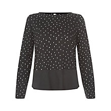 Buy People Tree Apperly Dot Jersey Top, Black Online at johnlewis.com