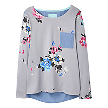 Buy Joules Pia Printed Jersey Top, Soft Grey Posy Online at johnlewis.com
