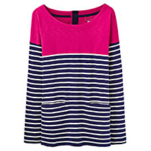 Buy Joules Anwen Stripe Jersey Top, Navy/Pink Online at johnlewis.com