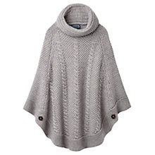 Buy Joules Tessa Cable Knit Poncho, Soft Grey Online at johnlewis.com