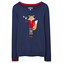 Buy Joules Festive Fox Intarsia Jumper, Navy Online at johnlewis.com