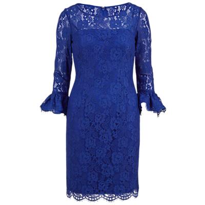 Gina Bacconi Lace Dress With Frill Cuffs, Blue