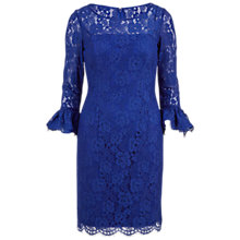 Buy Gina Bacconi Lace Dress With Frill Cuffs, Blue Online at johnlewis.com