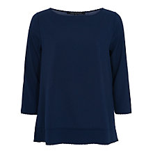 Buy French Connection Polly Scallop Top, Prussian Blue Online at johnlewis.com