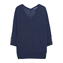 Buy Violeta by Mango Silk Panel Jumper, Dark Blue Online at johnlewis.com