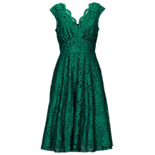 Buy Jolie Moi V-Neck Lace Fit And Flare Dress, Green Online at johnlewis.com