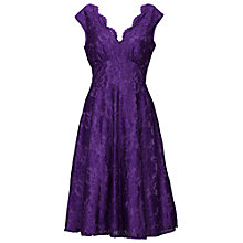 Buy Jolie Moi V-Neck Lace Fit And Flare Dress, Purple Online at johnlewis.com