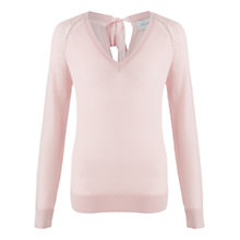 Buy Jigsaw Soft Ribbon Tie Sweater, Soft Rose Online at johnlewis.com
