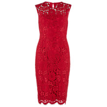 Buy Gina Bacconi Round Neck Scallop Dress, Red Online at johnlewis.com