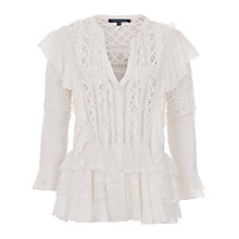 Buy French Connection Winter White Dayton Lace Top, Winter White Online at johnlewis.com