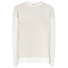 Buy Reiss Cairo Metallic Rib Jumper, White/Gold Online at johnlewis.com