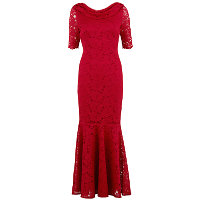 Gina Bacconi Floral Lace Fishtail Dress, Red