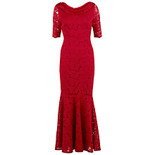 Buy Gina Bacconi Floral Lace Fishtail Dress, Red Online at johnlewis.com